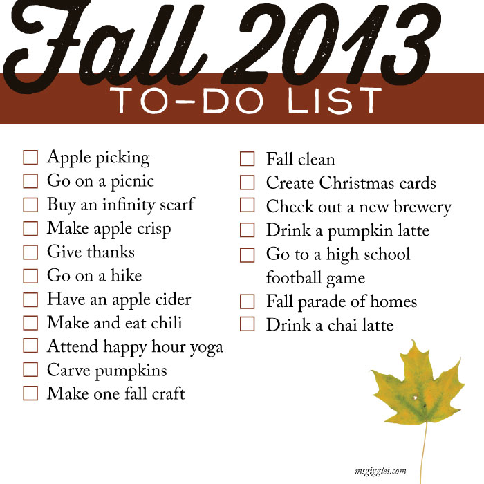 fall checklist 2013